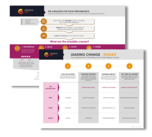 Mockup of digital toolkits used by Corporate Edge as their Blended Learning solutions to help businesses align with their culture (Corporate Coaching)