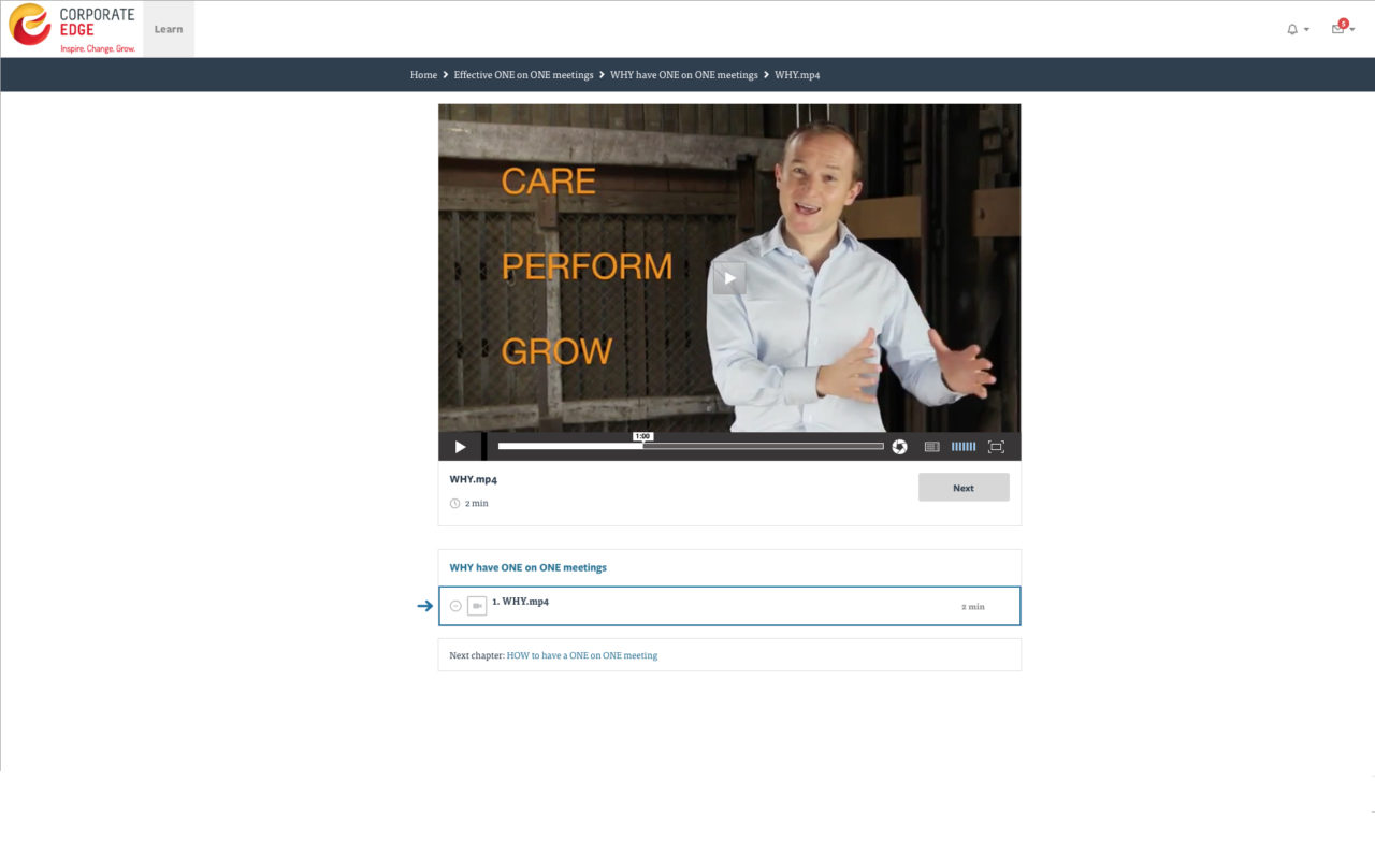 Screenshot sample of Corporate Edge's blended learning online course - as part of their corporate coaching programs